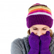 Freeze woman with gloves and a hat — Stock Photo #10820432