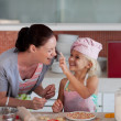 Potrait of mother and daugther having fun together — Stock Photo