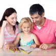 Father and mother drawing with her daughter — Stock Photo