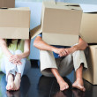 Under cartons — Stock Photo