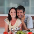 Smiling couple in the kitchen — Stock Photo #10821496
