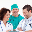 Young positive team of doctors working together — Stock Photo