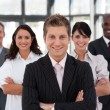 Cute business team looking at camera — Stock Photo #10822048