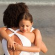 Ortrait of a relaxed Daughter Hugging her mother — Stock Photo