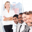 Happy manager leading her representative team — Stock Photo