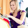 Caucasian woman is doing shopping — Stock Photo