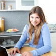 Stock Photo: Positve womwith laptop