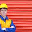 Stock Photo: Young worker wearing hardhat