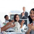 Businessteam applauding successful project — Stock Photo
