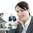 Close-up of a young businesswoman in a wheelchair — Stock Photo