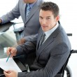 Close-up of a caucasian businessman in a wheelchair - Stock Photo