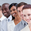 Stock Photo: Multi-ethnic young business team standing in a row