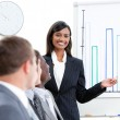 Charming businesswoman pointing at a white board — Stock Photo #10825141
