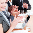 Cheerful business applauding a good presentation — Stock Photo