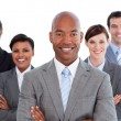 Portrait of joyful business team - Stock Photo