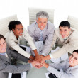 Royalty-Free Stock Photo: Cheerful multi-ethnic business team in a meeting