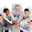 Cheerful multi-ethnic business team in a meeting - Stock Photo