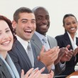 Happy businessteam clapping in meeting — Stock Photo #10825455