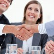 Smiling business closing a deal — Stock Photo
