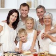 Happy family baking in the kitchen — Stock Photo