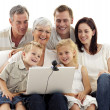 Happy family in a videoconference — Stock Photo