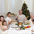 Family tusting with white wine in a Christmas dinner — Stock Photo