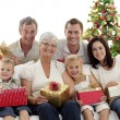 Stock Photo: Family holding Christmas presents at home