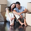 Stock Photo: Happy couple in their new house