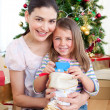 Mother and daughter at home at Christmas time — Stock Photo #10826990