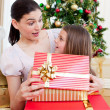 Mother and daughter at home at Christmas time — Stock Photo #10827006