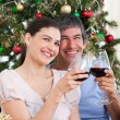 Stock Photo: Lovers drinking wine at homa at Christmas time