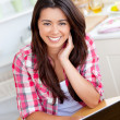Stock Photo: Charming womusing laptop