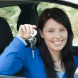 Stock Photo: Radiant teenager holding car keys sitting in her new car