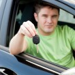 Stock Photo: Happy young male driver sitting in blue car