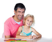 Cheerful father and daughter drawing — Stock Photo