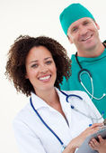 Presentation of a young doctor and a male surgeon — Stock Photo