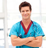 Portrait of a handsome doctor with stethoscope — Stock Photo