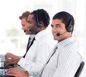 Diverse sale representative partners at work — Stock Photo