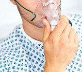 Close-up of a patient with a mask — Stock Photo
