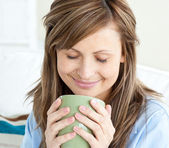 Relaxed woman enjoy her coffee — Stock Photo