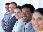 Beautiful businesswoman with her team in a line — Stock Photo