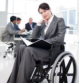 Portrait of a young woman in a wheechair — Stock Photo