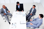 High angle of a smiling business team in a meeting — Stock Photo