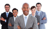 Portrait of joyful business team — Stock Photo