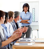 International business clapping a good presentation — Stock Photo