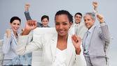 Happy multi-ethnic business team celebrating a sucess — Stock Photo