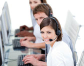 Young business team working in a call center — Stock Photo