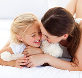 Attentive mother hugging her daughter — Stock Photo