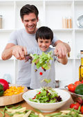 Little boy and his father cooking — Stock Photo