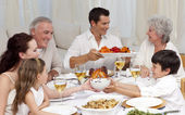 Family having a big dinner at home — Fotografia Stock